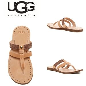 UGG Audra Tan Braided Leather Thong Sandal Sz 7